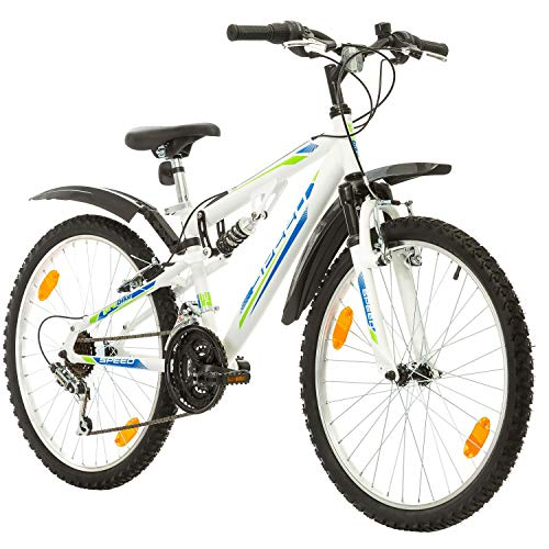 Multibrand, PROBIKE SPEED 24, 24 pollici, 330mm, FSP Mountain Bike, 18 velocità, Unisex, Set parafango, Nero Opaco (Bianco + Parafango, 24 pollici)