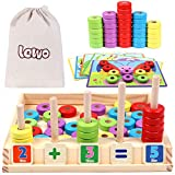 Lewo Wooden Puzzles Counting Toys Preschool Montessori STEM Educational Math Toys Shapes Sorting Fine Motor Skills Toy for Kids 3 4 5 Years Old