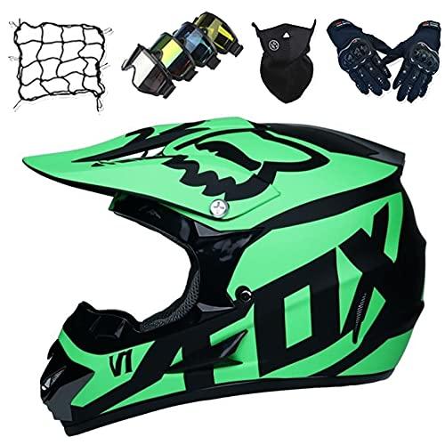 Casco Moto, Conjunto Casco Motocross Niños con Gafas/Guantes/Máscara/Red de Bungy, Casco Motocicleta de Cara Completa para Adultos y Jóvenes para MTB Off Road Downhill - con Diseño Fox - Verde