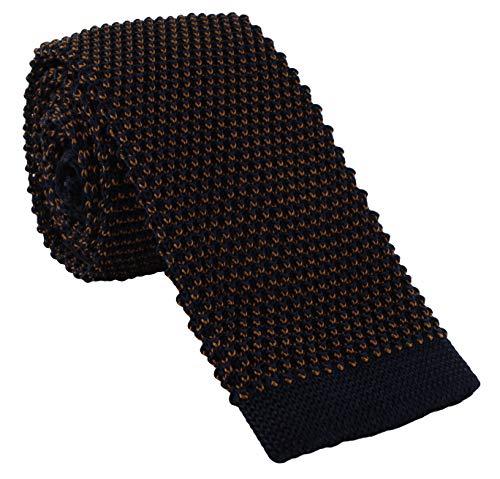 Halb einfarbige, schmale Strick-Krawatte aus Seide Gr. Einheitsgröße, Marineblau / Braun