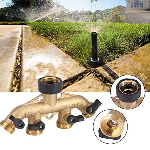 Zunate 4-weg tuinslang naar slangverbinding, 4 weg verdeler 3/4 inch met afsluitkranen voor 4 toevoerslangen, geschikt voor standaard 3/4 diameter verbinding.
