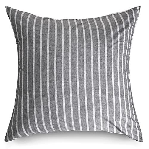ATsense Juego de 2 fundas de almohada de 80 x 80 cm – 100% algodón, funda de almohada de rayas grises con cremallera, muy suave premium e hipoalergénica, funda de cojín mullida