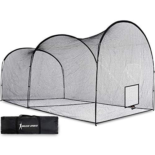 Gagalileo Batting Cage Baseball Cage Net Softball Cages, Heavy Duty Netting Backstop for Backyard, Training Softball Baseball for Pitching Pitchers 22x12x10FT