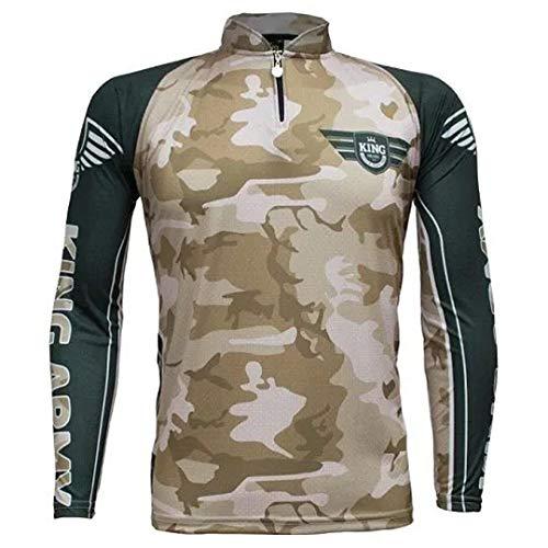 Camiseta de Pesca Proteção Solar UV King Camuflada Exército KFF301 tamanho:GG
