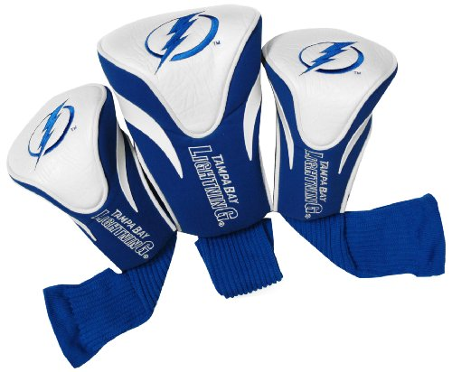 Team Golf NHL Tampa Bay Lightning Contour Golf Club Headcovers (3 Count), Numbered 1, 3, & X, Fits Oversized Drivers, Utility, Rescue & Fairway Clubs, Velour lined for Extra Club Protection