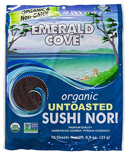 Emerald Cove, Organic Untoasted Nori Sheets Package, 10 Count Sheets, Pacific Nori, 0.9 Oz (Pack of 6)