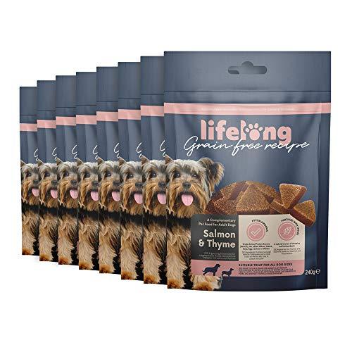 Marca Amazon - Lifelong - Treats para perros, sin trigo, con mono-proteína, con salmón, zanahoria y tomillo (8 packs x 240gr)