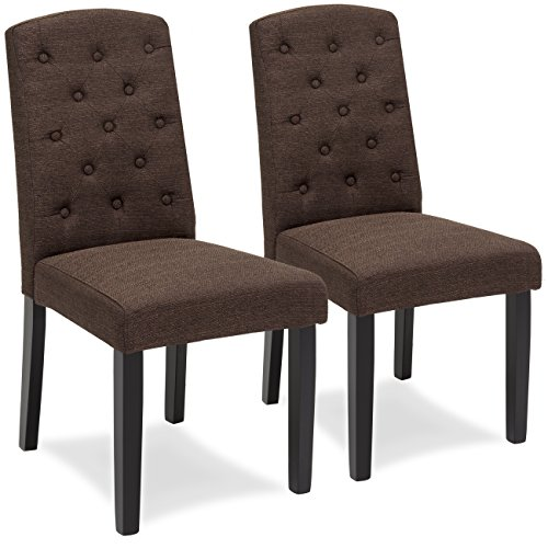 Best Choice Products Set of 2 Tufted Fabric Parsons Dining Chairs Home Furniture for Dining and Living Room - Espresso