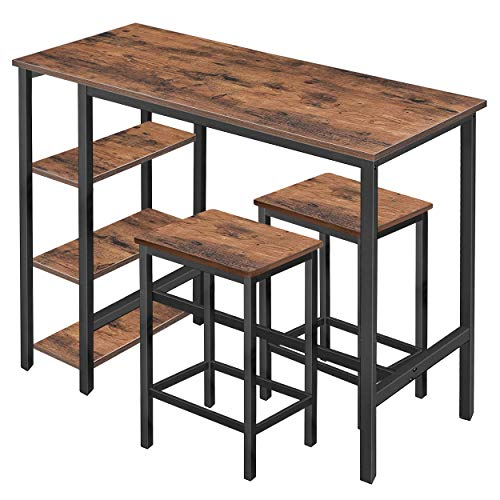 Mupater High Industrial Bar Dining Table Set with Storage Shelves, Tall Counter Height Bar Table with Two Bar Stools and Foot Pads for Home, Kitchen and Living Room, Rustic Brown