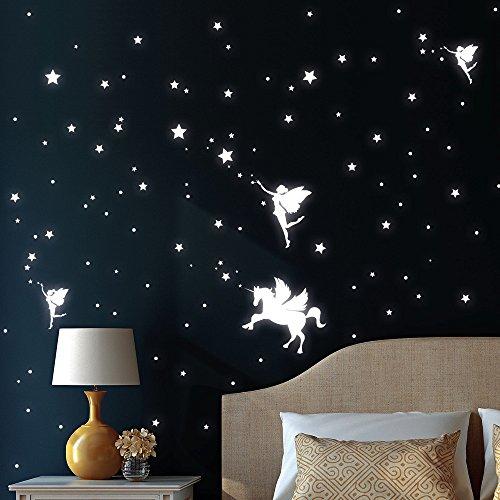 Wandtattoo-Loft Leuchtaufkleber DREI Elfen mit Einhorn, Sterne und Punkt - Leuchtende Sticker für einen tollen Sternenhimmel im Kinderzimmer
