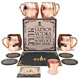 Krown Kitchen - Hammered Moscow Mule Copper Mugs Set of 4 | 100%