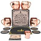 Krown Kitchen - Hammered Moscow Mule Copper Mugs Set of 4   16 oz