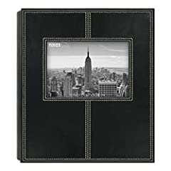 "Holds 160 4"" x 6"" photos Sewn leatherette frame cover Displays two photos per page Optically clear pockets Black mesh pocket background"