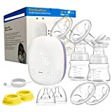 BeebeeRun Double Electric Breast Pumps Pain Free Strong Suction Power, Hospital Grade Breast Feeding Pumps with 4 Modes & 16 Levels,Ultra-Quiet Rechargeable Milk Pumps for Travel&Home