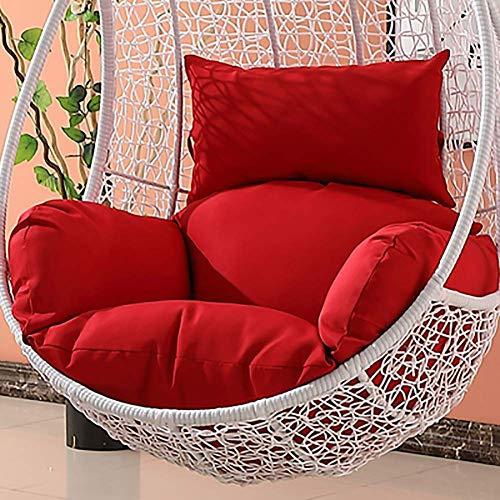 N /A Chaise en rotin, coussin de hamac, coussin suspendu, coussin sans support, balançoire, assise en rotin, coussin épais amovible avec coussin Vert clair, Rouge