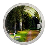 AITAI Green Wonderland Garden Nature - Pomo redondo para armario (4 unidades), diseño de jardín