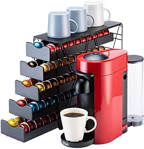 Bagoo Kaffeepads Halter für Nespresso Vertuoline Schublade Mehrstufig für Vertuo Kapseln Aufbewahrung (5 Tier)