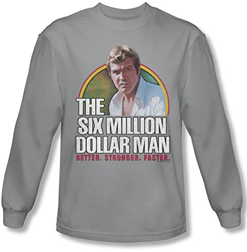 Six Million Dollar Man - Mieux hommes. Forte. Plus rapide. T-shirt manches longues en argent, XX-Large, Silver