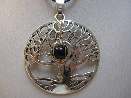 Natural mente – Pendentif Arbre de Vie, la pierre + 1 Chakra, pendentif pour collier, amulette, arbre de vie, bande plastique incluse, pierres précieuses, n ° 181