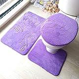 liuhoue Bad wc Sitz 3 teiliges Set Geprägte bodenmatte Badezimmer Matte-B 50x80cm(20x31inch)