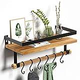 STOREMIC Floating Shelves, Kitchen Shelf with 6 Hooks, Solid Strong Metal Frame, Rustic Wall Shelves L44 * W18CM, Easy to Install Woodern Shelf for Kitchen, Bathroom, Bedroom, Living Room, etc