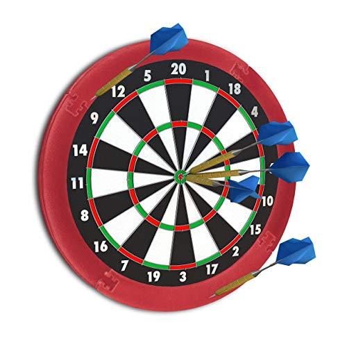 Relaxdays 10021529_114 Dart Auffangring R5, Catchring Dartscheibe, 4-teilig, Surround f. Dartboards, EVA, 45 cm, bordeaux