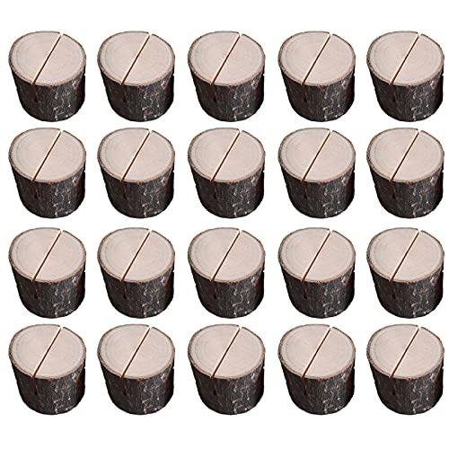 20 pzas Portatarjetas de Madera, Soporte para Tarjetas de Números, Soporte para Tarjetas de Notas, Portatarjetas con Nombre Portatarjetas de Madera Portapapeles para Decoraciones de Bodas y Fiesta