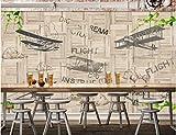 Papel Pintado Tablero de madera avión vintage óptica de madera Papel pintado tejido no tejido Dormitorio Despacho Decoración murales decoración de paredes moderna 200 x 150 cm