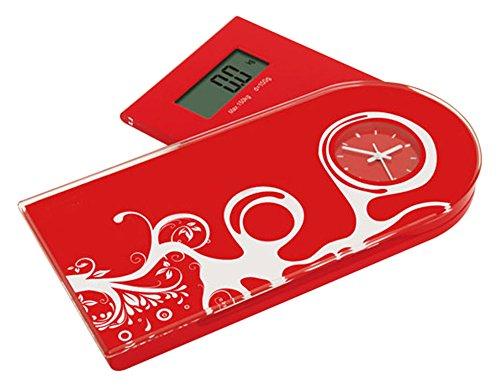 Jocca 7128R q-max Báscula multifuncional, color roja, Cristal