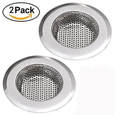 NHSUNRAY 2pcs Stainless Steel Kitchen Sink Strainer Removable Heavy-Duty Drain Filter Perfect for Kitchen Bathroom Basin Laundry Stop Hair Disposal Waste (Suitable for drain 3.3 -3.7 , Chrome)