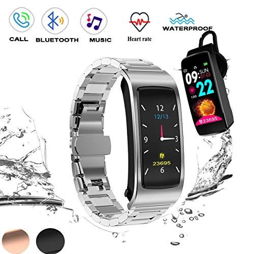 Toque 2 en 1 Pantalla  Reloj inteligente con auriculares Bluetooth, IP67 a prueba de agua  4.1 SmartWatch con acero inoxidable Pulsera, Monitor de sueño, podómetro Reloj para hombres mujeres,Plata