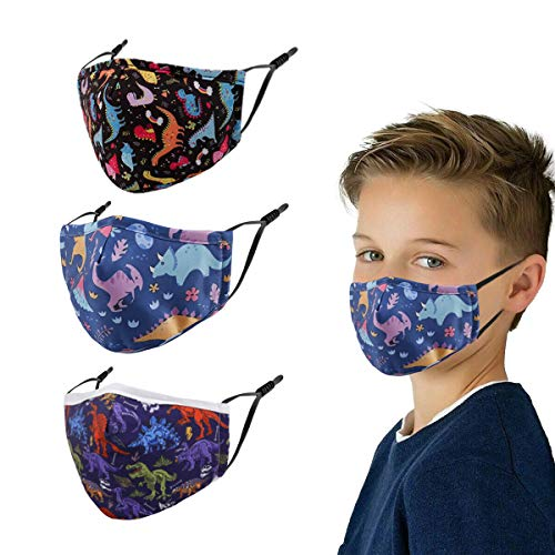 3 Pcs Cloth Mask - Kids Reusable Washable Breathable Cute Pattern Face Cover Outdoor Sports Boys Girl (Purple)