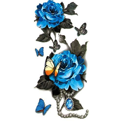 Tattoo Aufkleber Frauen, 3D Schmetterling Blume temporäre Tattoo Aufkleber für Körper, Gesicht, Arm/Armband wasserdichte Fake Tattoos, Temporäre Tattoos Blau