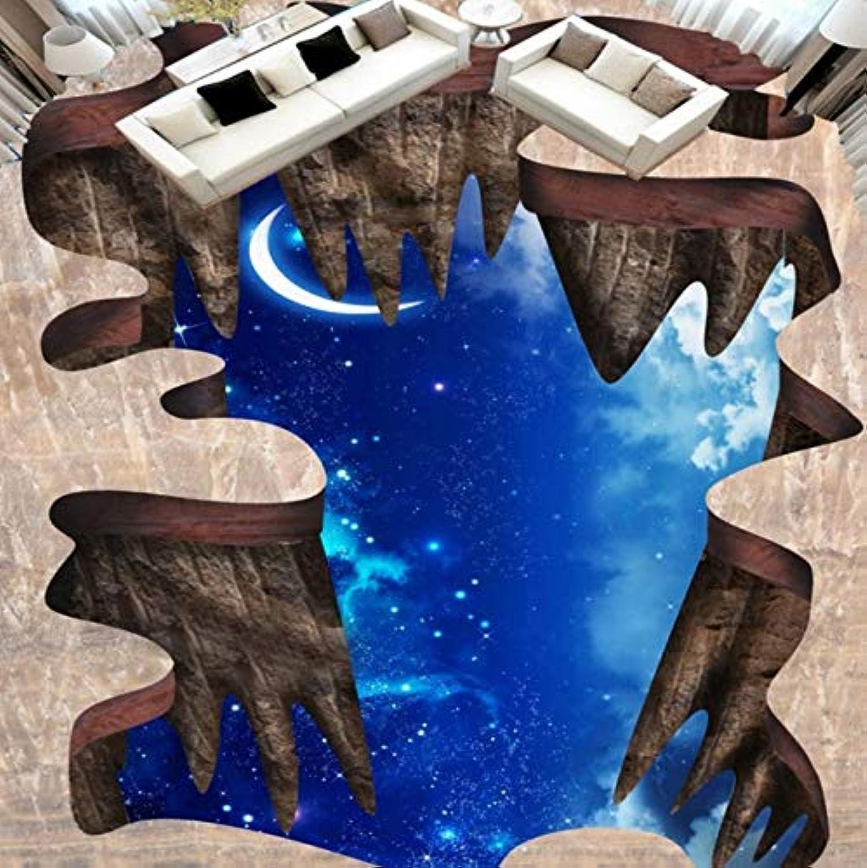 descuento de ventas en línea Pbldb azul Fantasy Cosmic Moon Floor Papeles De De De Parojo Pintura 3D Wallpaper Roll Piso Mural Salón Dormitorio Decoración-200X140Cm  orden ahora disfrutar de gran descuento
