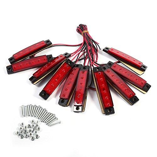 VGEBY Lot de 10 éclairages latéraux pour bus ou remorque Rouge ou ambre 24 V rouge