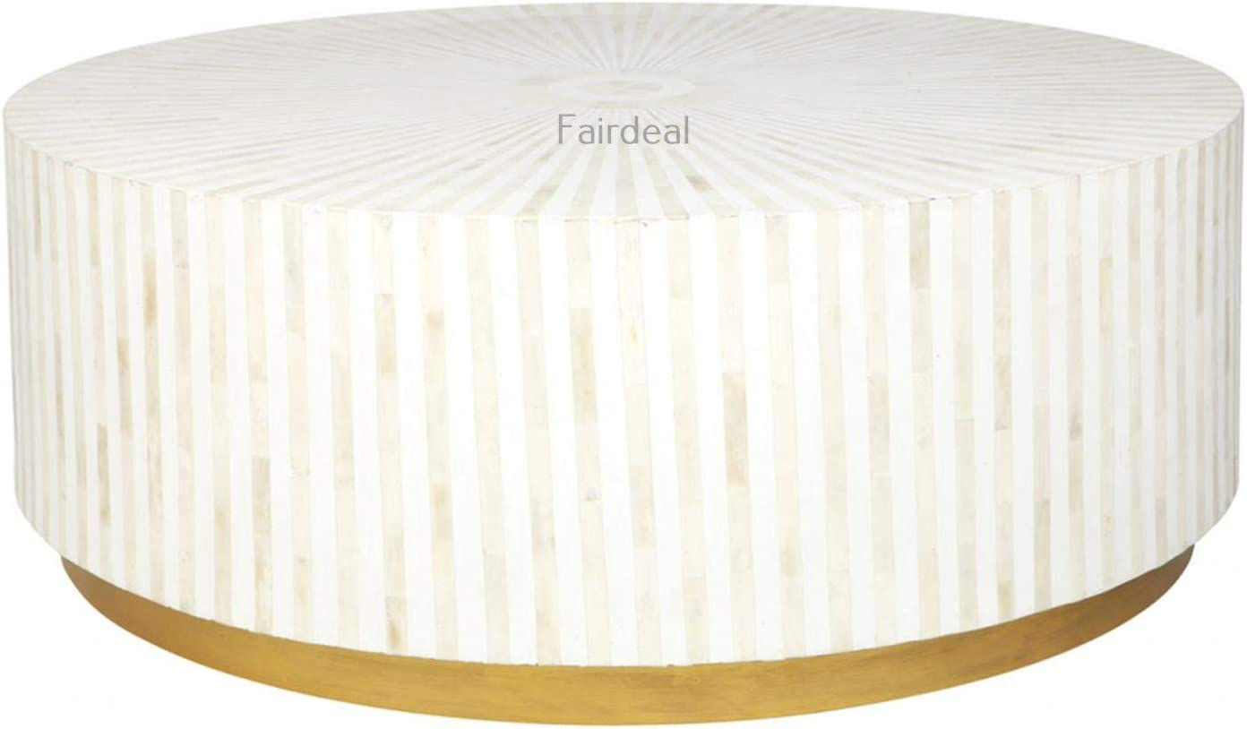 Handmade New item Striped White Bone Inlay Furniture Wooden Coffee sale Table