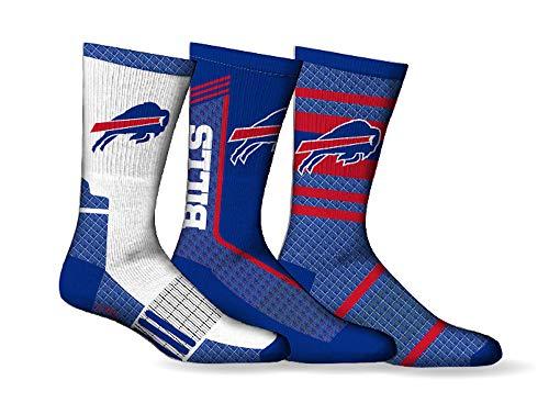 Buffalo Bills Socken für Herren, Schuhgrößen 7-12, NFL Football Crew, Länge 3 Paar