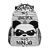 Lindo unicornio panda ninja sobre rayas mochilas para la escuela para niños, adolescentes y niños pequeños, mochila de viaje para ordenador portátil