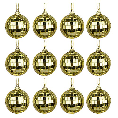 Bright Reflective Mirror Disco Balls | 12 Pack 2' Christmas Balls Ornaments Xmas Tree Hanging Balls Pendants for Holiday Wedding Party Dance and Music Festivals Decoration - Gold (Gold, 12 Pack)