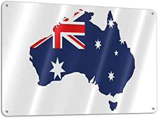 Lkbihl Australia Flag Map Customized and Personalized, Single Sided, Aluminum, Sign 11.8 * 7.9 in 1 Pack