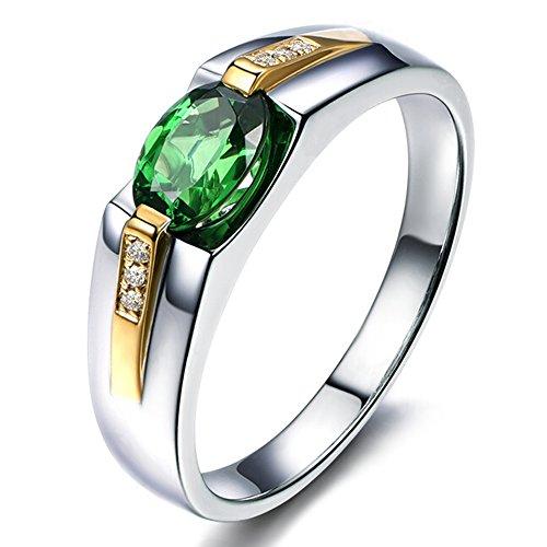 Auténtico Tsavorite Verde Piedra preciosa Diamante 14K blanco and Oro amarillo Promesa Boda Compromiso Anillo Conjuntos para Mujer