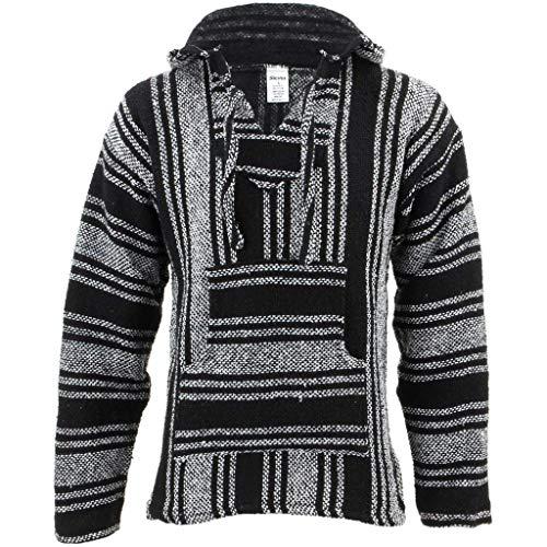 Siesta Herren Kapuzenpullover, Gestreift schwarz schwarz/weiß One Size Gr. XL, schwarz/weiß