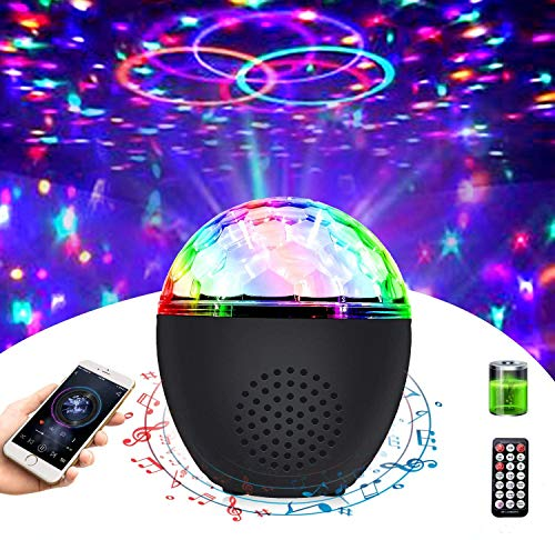 Disco Ball Light Portable Bluetooth Strobe Lights with Remote (Battery Operated) 16 Color Sound Activated Party Light for Dance Parties Kids Birthday Gift Room Wedding X'mas