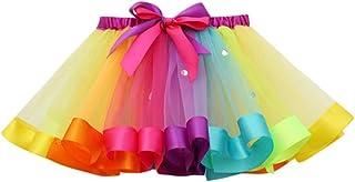 HUIHUI Kleid Mädchen, Toddler Mädchen Tutu Tüll Tanz Ballett Regenbogen Rock Sommerkleid Party Prinzessin Dress Casual T-Shirt Kleid Frühlings Herbst Cocktailkleid