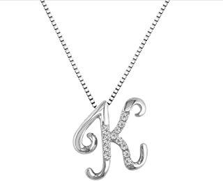 18K White Gold Initial K Pave with Diamond Pendant (49)