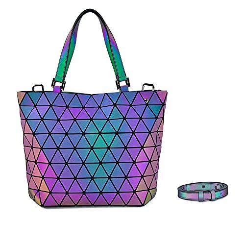 QIANJINGCQ Tendencia de moda luminosa geométrica de un solo hombro siempre cambiante portátil plegable personalizada bolsa de cubo de diamantes mochila bolso de mensajero para mujer