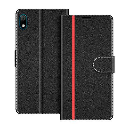 COODIO Handyhülle für Huawei Y5 2019 Handy Hülle, Huawei Y5 2019 Hülle Leder Handytasche für Honor 8S / Huawei Y5 2019 Klapphülle Tasche, Schwarz/Rot