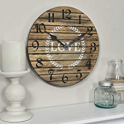 FirsTime & Co. Love Pallets Wall Clock, 12, Natural Wood