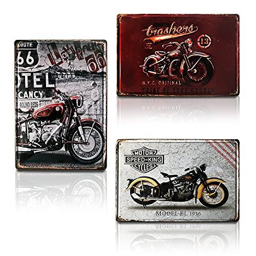 Chapa Metálica de Decoración | Cuadro Moderno Diseño Motocicleta Vintage para Hogar / Salón / Bar / Habitación | Set de 3 Chapas Retro con Relieve Tamaño 20x30.
