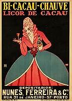 Bi–Cacau–Chauveヴィンテージポスター(アーティスト: Macedo )ポルトガルC。1920 12 x 18 Art Print LANT-61956-12x18